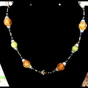 Beautiful Beaded Necklace with Amber color accents
